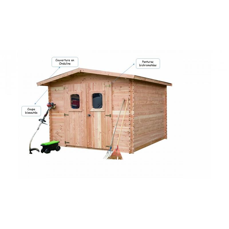 abri de jardin en bois douglas 28mm livr mont. Black Bedroom Furniture Sets. Home Design Ideas