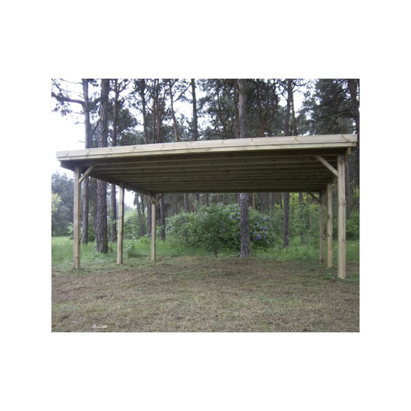 carport double en bois autoclav toit plat pas cher. Black Bedroom Furniture Sets. Home Design Ideas