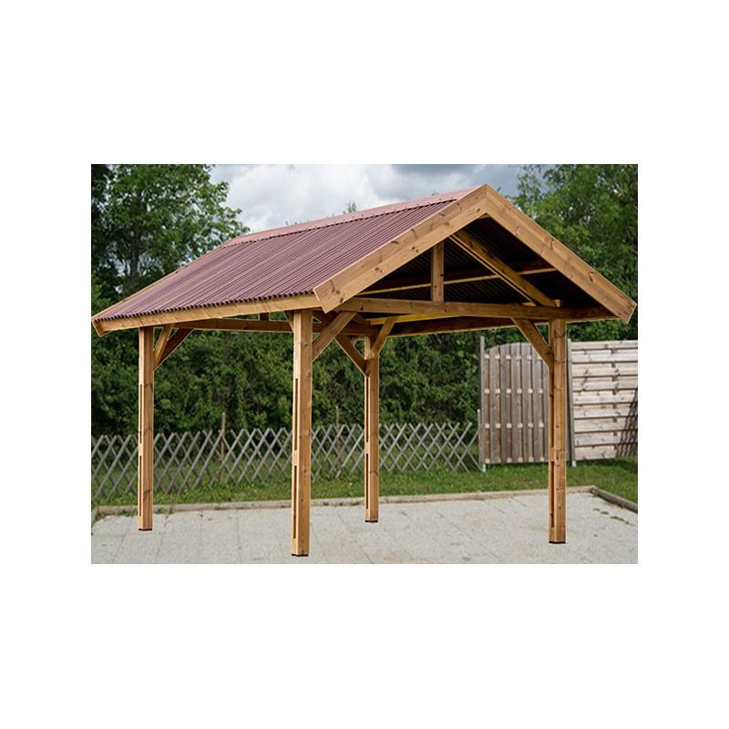carport 2 pans en bois trait haute temp rature. Black Bedroom Furniture Sets. Home Design Ideas