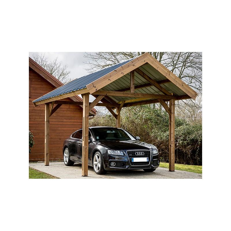 carport 2 pans en bois trait haute temp rature avec montage. Black Bedroom Furniture Sets. Home Design Ideas