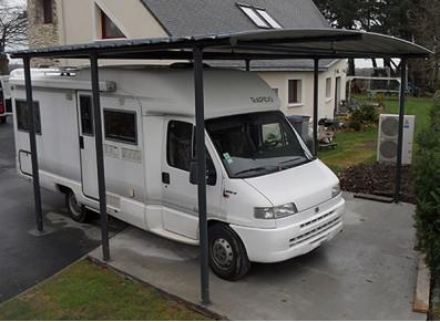 CARPORT CAMPING-CAR TOITURE BAC ACIER  : 3.60 x 7.05 m