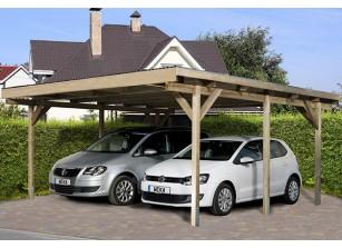 CARPORT DOUBLE TOIT PLAT PVC - BOIS AUTOCLAVE