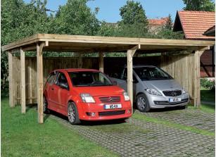 CARPORT TOIT PLAT ACIER - BOIS AUTOCLAVE