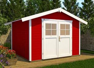 abri jardin madriers 28 mm rouge avec plancher inclus