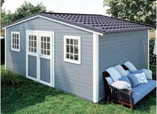 Abri de jardin bois brut 28 mm et couverture acier