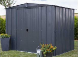 abri jardin acier galvanisé martelé avec portes coulissantes
