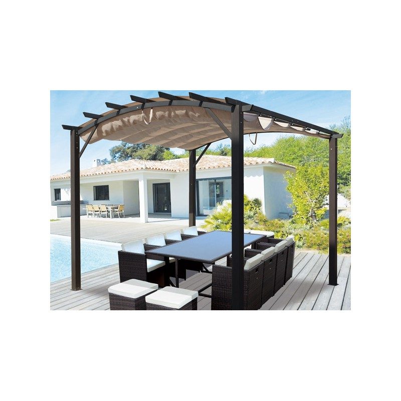 pergola alu cintree et toile coulissante 11 m2 prix discount. Black Bedroom Furniture Sets. Home Design Ideas