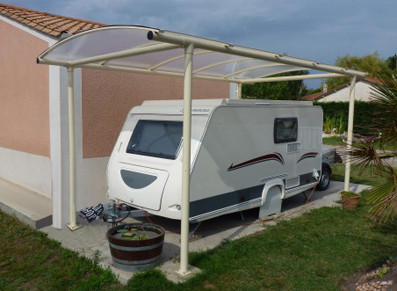 CARPORT SIMPLE METAL GAINÉ ET POLYCARBONAT 3 x 5 m