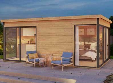 Abri jardin bois brut 44 mm et baies vitrées aluminium