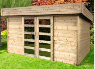 abri jardin bois 28 mm portes coulissantes
