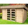 abri jardin bois 28 mm porte coulissante