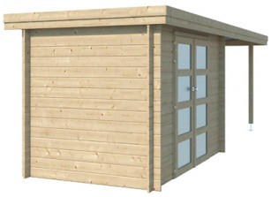 Abri bois 28 mm toit acier et auvent
