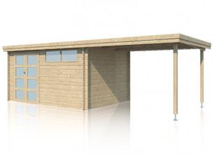 Abri bois 28 mm + toit acier et auvent