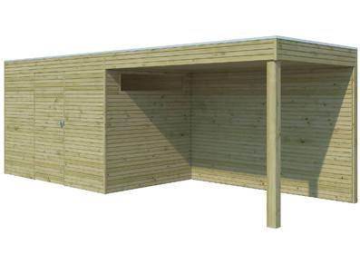 Abri bois panneaux 28 mm avec auvent