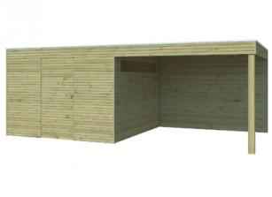 Abri mixte en bois-panneaux 28 mm autoclave et auvent