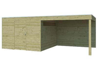Abri en bois autoclave 28 mm 9 m2+ auvent 8.84m2