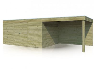 Abri bois autoclave combiné, parois 28 mm