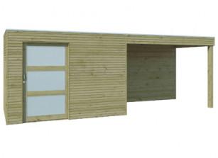 Abri bois panneaux 28 mm et auvent