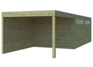 Garage + carport adossé, toit plat en EPDM - bois imprégné 28 mm