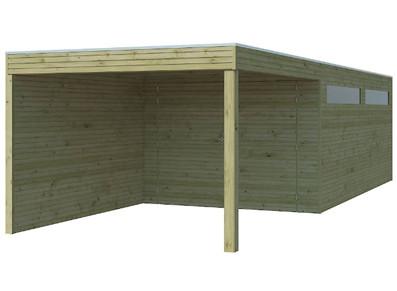 Garage toit plat en EPDM - panneaux bois 28 mm