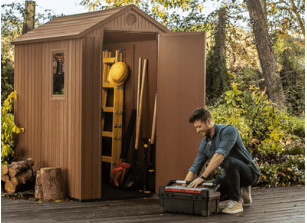 Abri de jardin résine aspect bois 1.9m²