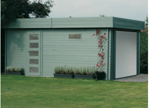 Garage bois madriers 40 mm, porte motorisée 3,58 x 5,38 m