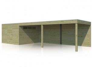 Abri mixte en bois autoclave 28 mm avec auvent 6m de longueur