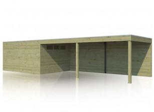 Abri bois traité 28 mm combiné avec grand carport