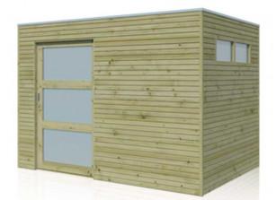 Abri de jardin en bois autoclave 28 mm avec porte coulissante