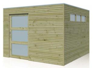 Abri de jardin en bois parois 28 mm avec porte coulissante