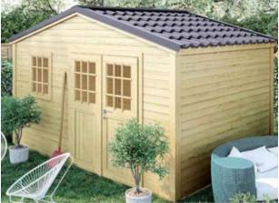 Abri de jardin bois brut 28 mm + couverture acier effet tuile
