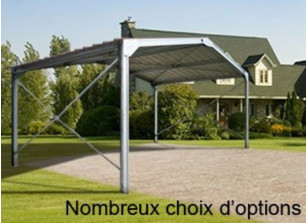 ABRI METALLIQUE DOUBLE PENTE : 8.00 X 5.00 M