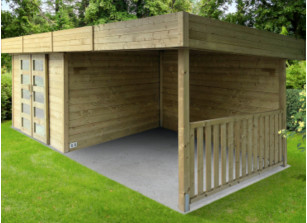 abri de jardin en bois avec pergola