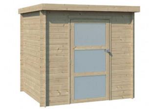 abri bois brut madriers 19 mm toit plat avec bâche PVC