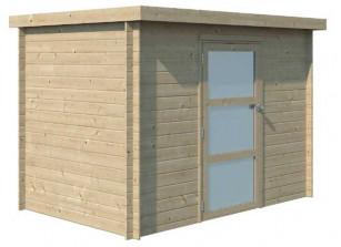 abri de jardin en bois brut madriers 19 mm et  toit PVC