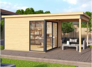 Abri jardin bois brut 44 mm avec auvent intégré