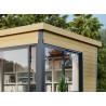 Abri de jardin en bois brut 44 mm + baies vitrées coulissantes en aluminium