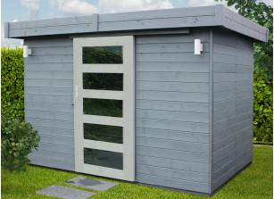 Abri avec portes coulissantes madrier 19 mm