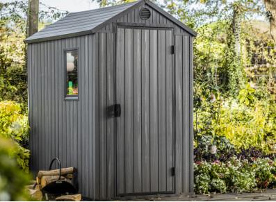 Abri de jardin avec plancher en résine aspect bois