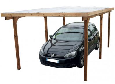 Carport en bois traité toit PVC