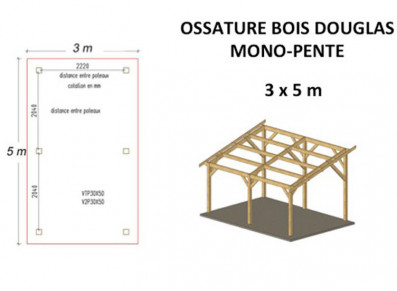 OSSATURE DOUGLAS MONO-PENTE 15M2