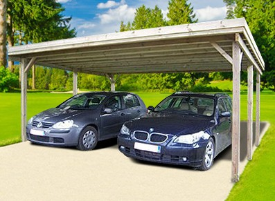 CARPORT DOUBLE EN BOIS AUTOCLAVE 30 M²