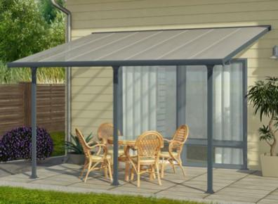 pergola en aluminium abri adosse de 4 x 3m promo. Black Bedroom Furniture Sets. Home Design Ideas