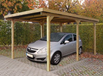 carport toit plat pour 1 voiture l 39 abri en bois trait autoclave petit prix. Black Bedroom Furniture Sets. Home Design Ideas
