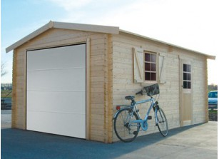 Garage bois madriers 40 m/m :::: 3,58 x 5,38 m