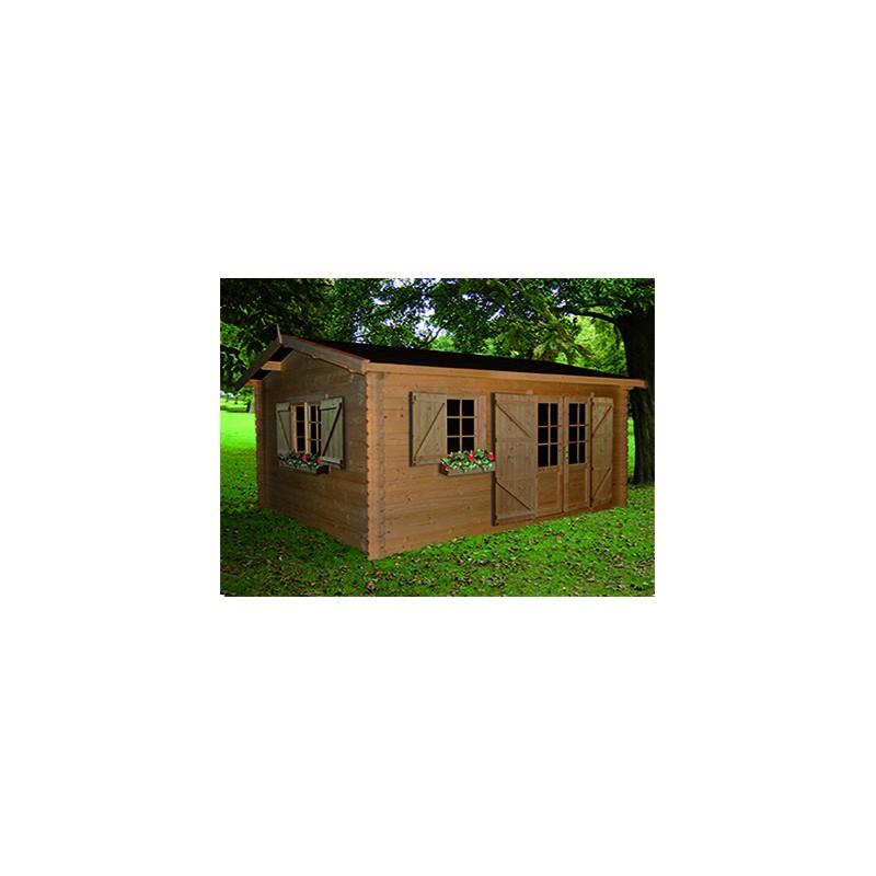 abri jardin madrier bois brut 18 m2. Black Bedroom Furniture Sets. Home Design Ideas