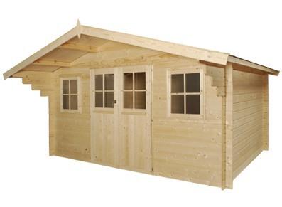 abri de jardin bois m/m 28 mm :::::  4,35 x 4,81 m