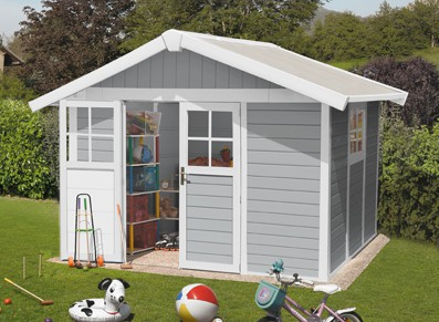 Abri jardin PVC DECO 7.5 GRIS CLAIR 3,15 x 2,39 m