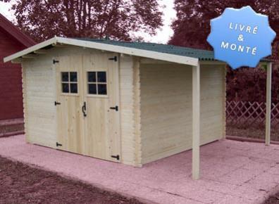 abri de jardin bois madrier 28 mm avec bucher 4 50 x 3 29 m. Black Bedroom Furniture Sets. Home Design Ideas