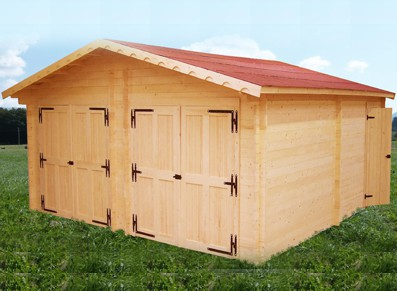 GARAGE DOUBLE BOIS MADRIER 60 MM   6.35 x 6.64 M